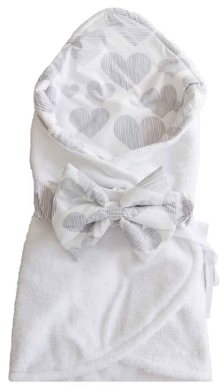 Конверт спальник с карманом для ножек ТМ Лежебока Сердца на белом