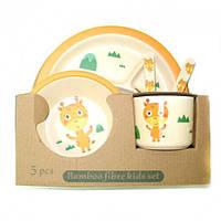 Бамбуковая посуда (для детей), набор из 5 предметов - Жираф маленький, Eco Bamboo N02329