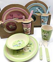 Бамбуковая посуда (для детей), набор из 5 предметов - микс видов, Bamboo Fibre kids set,N02330