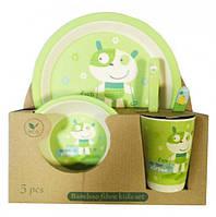Бамбуковая посуда (для детей), набор из 5 предметов - собачка, Bamboo Fibre kids set,N02330