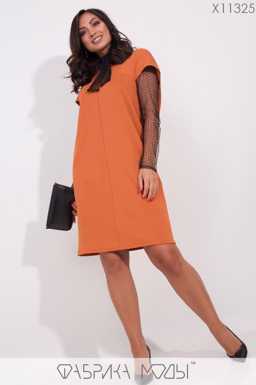 Платье-миди прямого кроя и короткими рукавами с съемным гольфом из сетки X11325