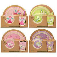 Бамбуковая посуда (для детей), набор из 5 предметов - микс видов,N02330