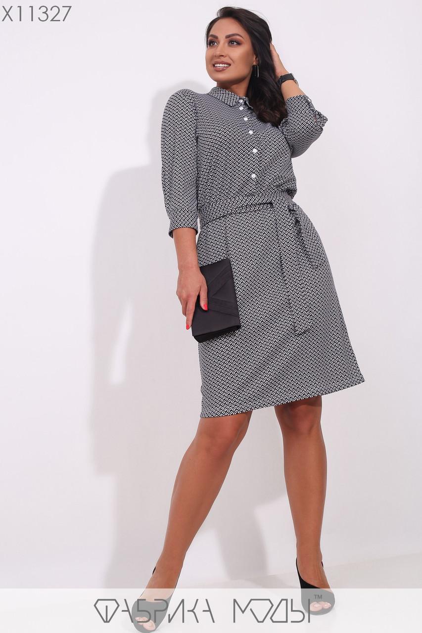 Трикотажное платье до колен,на пуговицах вдоль лифа, рукавами 3/4 с манжетами, по талии на резинке под пояс X11327