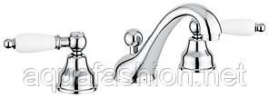Классический смеситель для умывальника на 3 отверстия Emmevi Deco Ceramic 121033