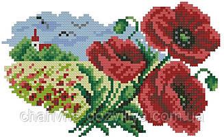 """Набор алмазной вышивки (мозаики) """"Украинский пейзаж. Маки"""""""