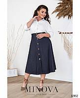 Женская коттоновая  юбка декорирована пуговицами (размеры 44-56)