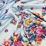 Цветочное ожерелье 932-1, павлопосадский платок (шаль) хлопковый (саржа) с подрубкой, фото 4