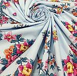Цветочное ожерелье 932-1, павлопосадский платок (шаль) хлопковый (саржа) с подрубкой, фото 9