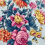 Цветочное ожерелье 932-1, павлопосадский платок (шаль) хлопковый (саржа) с подрубкой, фото 5