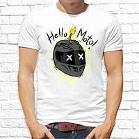 """Чоловіча футболка Push IT з принтом Шолом мотоцикліста """"Hello Moto!"""""""