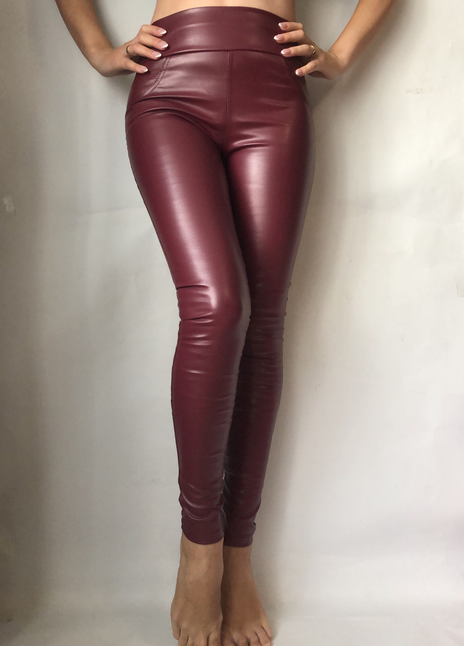 Женские лосины из эко-кожи №49 бордовый