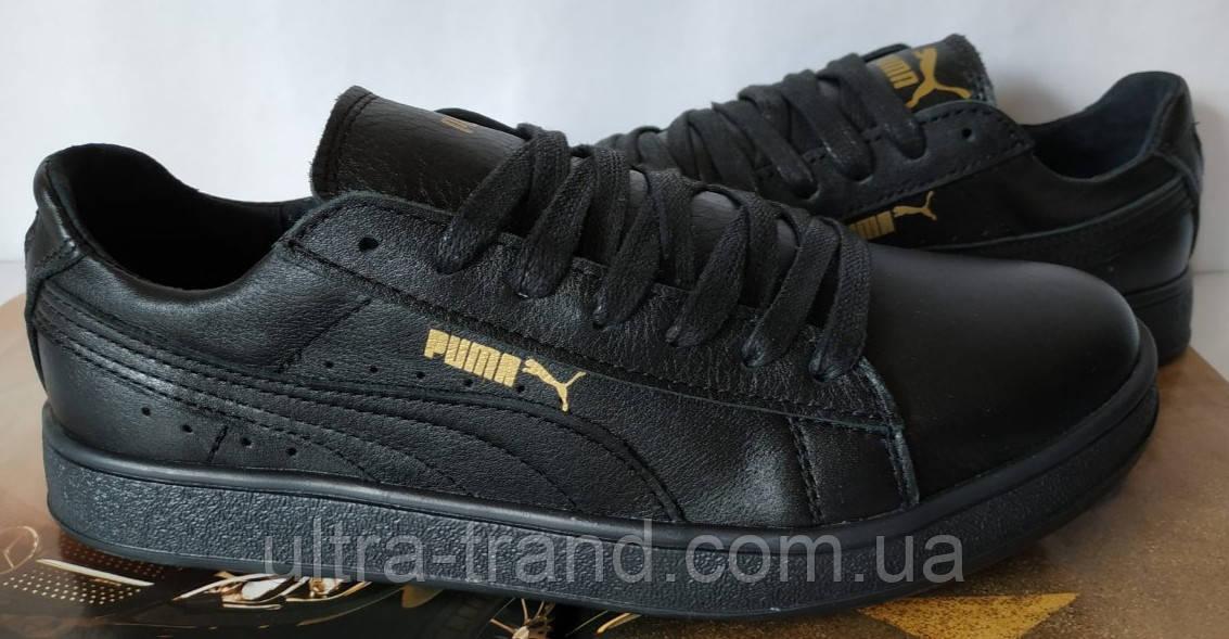 Puma classic! кроссовки кеды женские из черной натуральной кожи пума !
