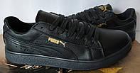 Puma classic! кроссовки кеды женские из черной натуральной кожи пума !, фото 1