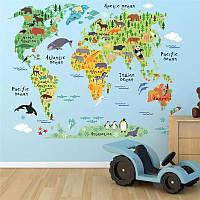 """Наклейка на стену, в офис, в детскую, в школу """"карта мира"""" 73см*95см (лист 60*90см)"""
