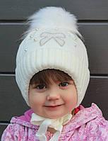 №053 Зимняя детская шапка Бантик с искусств.помпоном. р.44-48 Есть клубника,св.розовый, св.мята, молоко, белый, фото 1