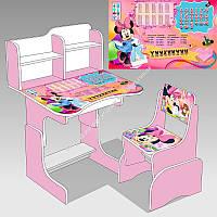 """Парта школьная """"Микки Маус"""" ЛДСП ПШ 016 69*45 см., цвет розовый, + 1 стул (ОПТОМ)"""