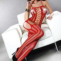 Эротический комбинезон сеткой красного цвета, фото 1