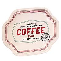 """Стильный металлический поднос """"Coffee shop"""" 33х27х2 см"""