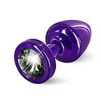 Анальная пробка со стразом Diogol ANNI round purple Карбонадо 25мм