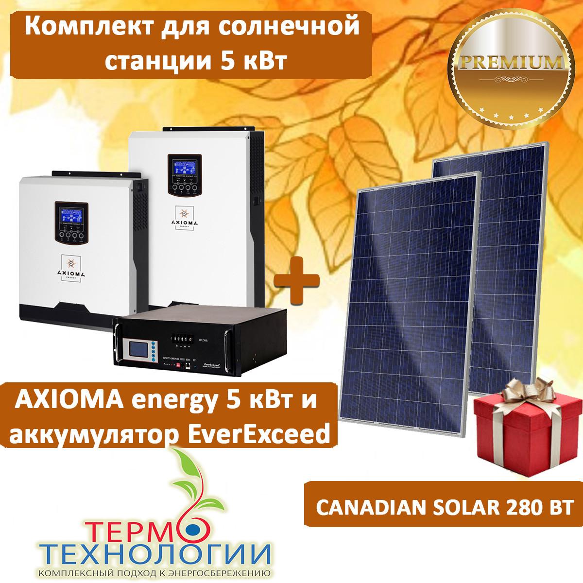 Комплект для автономной солнечной станции AXIOMA energy 5 кВт и Canadian Solar 280 Вт