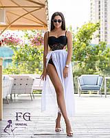 Парео, юбка парео из шифона в цветах , размер 42- 46