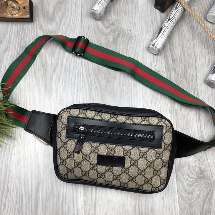Брендовая бананка Gucci коричневая Турция унисекс поясная сумка на пояс Модная Новинка Качество Гуччи реплика