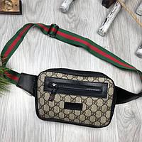 Брендовая бананка Gucci коричневая Турция унисекс поясная сумка на пояс Модная Новинка Качество Гуччи реплика, фото 1