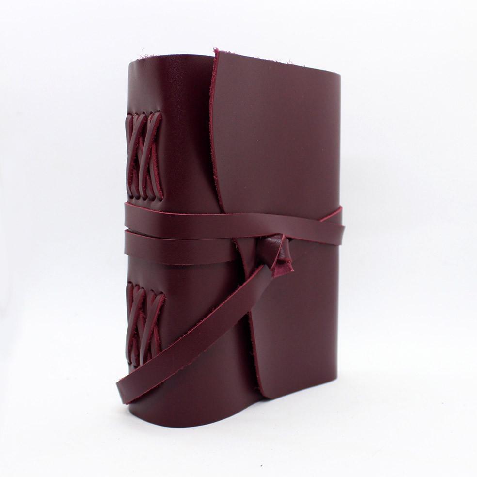 Кожаный блокнот ручной работы COMFY STRAP В6 женский бордовый