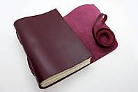 Кожаный блокнот ручной работы COMFY STRAP В6 женский бордовый, фото 3