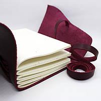 Кожаный блокнот ручной работы COMFY STRAP В6 женский бордовый, фото 5