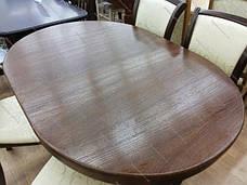 Стіл овальний розкладний на двох ніжках для кухні і вітальні Говерла 2 Мікс меблі, колір темний горіх, фото 2