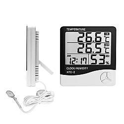 4в1 Гигрометр, термометр с выносным датчиком и часы в одном устройстве Generic HTC-2