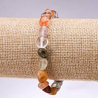 Браслет из натурального камня рутиловый Кварц волосатик ассорти галтовка d-8-10мм L-18см на резинке