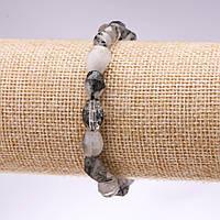 Браслет из натурального камня рутиловый Кварц волосатик граненная галтовка d-10х10мм L-18см на резинке