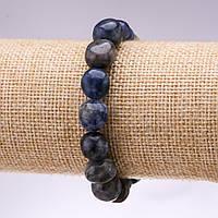 Браслет из натурального камня Содалит галтовка d-10мм L-18см на резинке