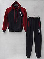 Спортивный костюм для мальчика на 8-11 лет серого, черного цвета c капюшоном Adidas оптом