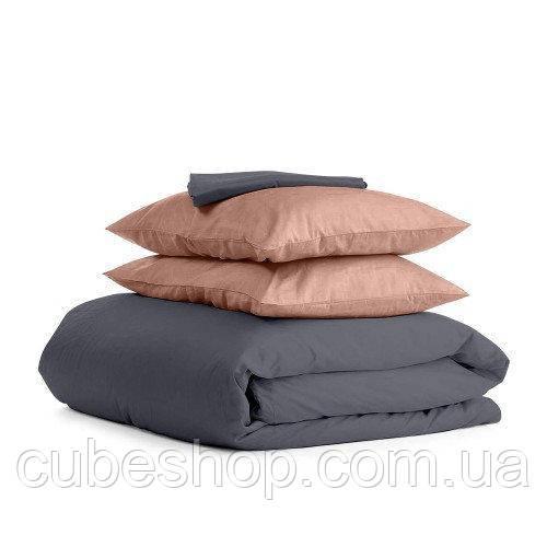 Комплект полуторного постельного белья GREY BEIGE-P (хлопок, сатин)