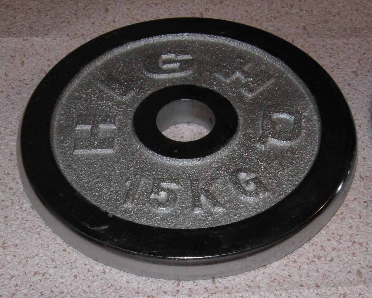 Блин хромированный олимпийский 15 кг (52 мм)