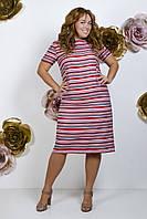 Платье летнее ровного кроя в полоску из льна, спереди два вшивных кармана  р.50 код 5308М