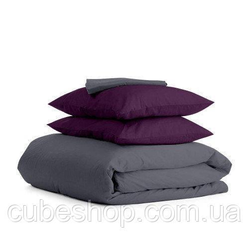 Комплект полуторного постельного белья VIOLET BLACK-P (хлопок, сатин)