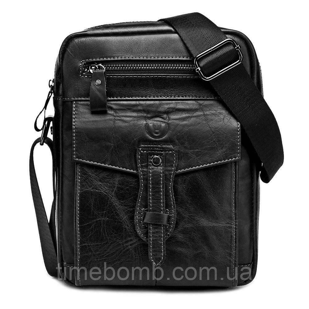 Мужская кожаная наплечная сумка BullCaptain Modern черная