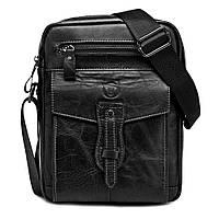 Мужская кожаная наплечная сумка BullCaptain Modern черная, фото 1