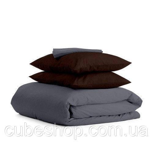 Комплект полуторного постельного белья GREY CHOCOLATE-P (хлопок, сатин)