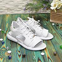 Босоножки спортивные кожаные на шнурках