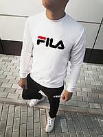 Спортивный костюм мужской в стиле Fila черно-белый | весенний осенний