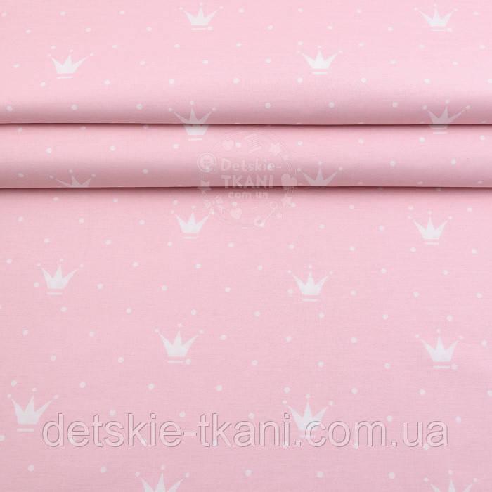 """Поплин шириной 240 см """"Короны и точки"""" белые на розовом фоне (№2409)"""