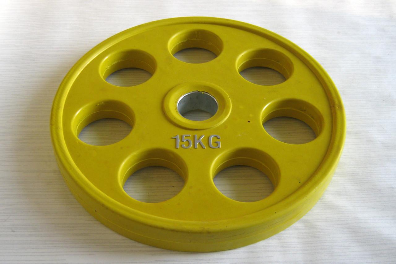 Блин (диск) для штанги обрезиненный 15 кг (52 мм)