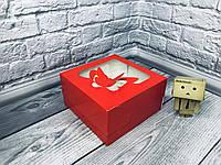 *10 шт* / Коробка для 4-ох кексов / 170х170х90 мм / печать-Красн / окно-Бабочка