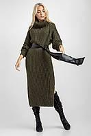 Теплое женское вязаное длинное платье-свитер под горло