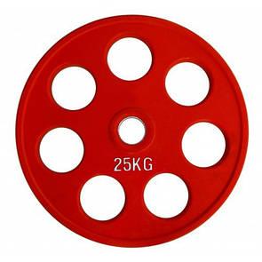 Блин (диск) для штанги обрезиненный 25 кг (52мм)